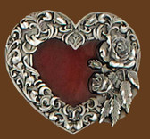 Small Heart Belt Buckle, Red Enamel, Diamond Cut,
