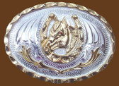Small Horsehead in Horseshoe German Silver Belt Buckle