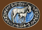 Small Mare & Colt Belt Buckle, Blue Enamel, 2-1/4 x 1-1/2