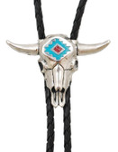 Steerhead Bolo Tie with Turquoise & Corral inlay, Made in the USA