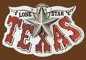 "Texas Lone Star Belt Buckle, 3-1/2"" x 2"""