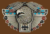 "Thunderbird Totem/Feather Belt Buckle  3-3/4"" x 2-1/4"""