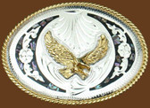 Abalone & German Silver Eagle Belt Buckle,