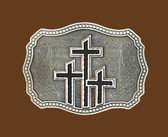 Triple Crosses Belt Buckle, Black Enamel
