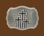 "Triple Crosses Belt Buckle, Black Enamel  3-1/2"" x 2-3/4"""