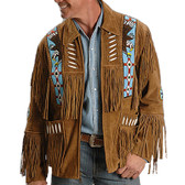 A Brown Suede Fringed Native Designed Jacket