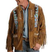 A Brown Suede Fringed Native Designed Jacket