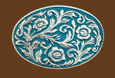 """Turquoise Scrolled Belt buckle, 4"""" x 2-3/4"""" 7837"""