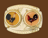 Two Roosters Belt Buckle
