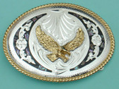"Abalone & German Silver Eagle Belt Buckle, 4"" x 3"" 8073"