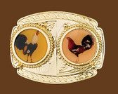Two Roosters Belt Buckle, 3-7/8 x 3