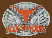 "U of Texas ""Hook 'em Horns"" NCAA Belt Buckle  3-1/2"" x 2-1/2"""