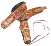 A Natural Color Tooled Old West Buscadero Pistol Holster