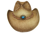 Twisted paper, tea stained Raffia Cowboy Hat