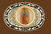 Virgin Mary Belt Buckle, 3-1/2 x 2-3/8