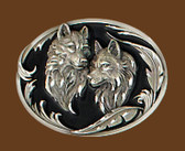 "Wolf Heads Belt Buckle, Diamond Cut  3-1/4"" x 2-1/2"""