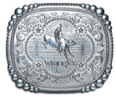 "Wrangler Belt Buckle - Bullrider with fence  4"" x 3-1/2"""