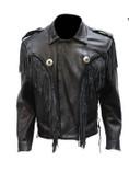 All Black Fringed Front and Rear Biker Jacket