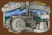 "American Farmer Feeds the World Belt Buckle,  3-1/4"" x 2"""