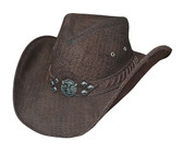 American Buffalo genuine buffalo hide leather cowboy hat by Bullhide® Hats.  Chocolate.  Available in sizes S, M, L, XL