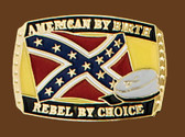 "American/Rebel by Choice Belt Buckle, 3""x2"""