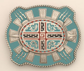 "Aztec Turtle Belt Buckle, 3-1/2"" x 3"""