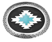 Aztec with Turquoise Inlay Belt Buckle