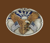 Eagle with American Flags Belt Buckle