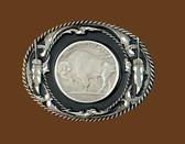 Buffalo Coin Belt Buckle, Black Enamel, Diamond Cut