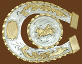 Horseshoe Shaped Bullrider German Silver Belt Buckle,