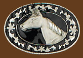 Small Horsehead Belt Buckle, Black Enamel, Diamond Cut 53313