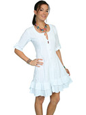100% Peruvian Cotton 3/4 Sleeve Dress. Lace-Up Back, Soutache Design In Front. 62162