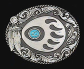 "Bear Claw Belt Buckle, Feathers, DIamond Cut  3"" x 2-1/2"""