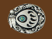 Bear Claw Belt Buckle, Feathers, Diamond Cut