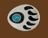 "Bear Claw Belt Buckle, Turquoise  3"" x 2-1/2"""