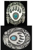 Bear Claw Belt Buckle and Bolo Tie Set Native Design