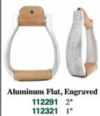 1 Pair Stirrups Aluminum Flat Engraved 2 Inch