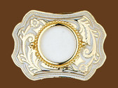 Belt Buckle, holds silver dollar, 3-3/4 x 2-3/4