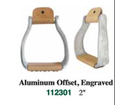 1 Pair Stirrups Aluminum Offset Engraved 2 Inch