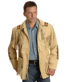1. BEST SELLER GERONIMO SOFT BUFFALO SKIN SUEDE LEATHER FRINGED AND BONED JACKET.
