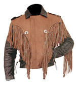 Black and Brown Fringed Leather Jacket