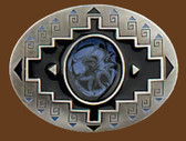 "Black Enameled Belt Buckle, 3"" x 2-1/4"""