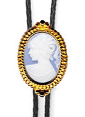 Blue Cameo Beaded Bolo Tie (Silver or Gold Finish)