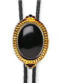 BLACK ONYX BEADED EDGE BOLO TIE (GOLD OR SILVER FINISH)