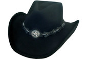 BLACK WOOL FELT Cowboy Hat WITH CONCHO STAR Cowboy Hat BAND AND CHIN CORD.