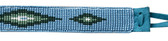 Blue Diamond Beaded Hat Band 1 Inch Wide w/ Suede Backing and Ties