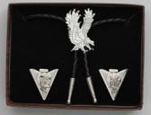Bolo Tie & Collar Tip Boxed Set - Diamond Cut Silver Eagles