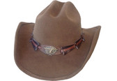 BROWN WOOL FELT Cowboy Hat WITH LONGHORN CONCHO Cowboy Hat BAND AND CHIN CORD.