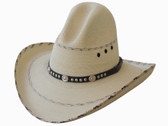 GUS STYLE, FINE WHITE PALM WITH BLACK PATTERN, AND CONCHOS ON BLACK LEATHER HATBAND