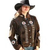 Brown Suede Bonned Fringed Ladies JAcket